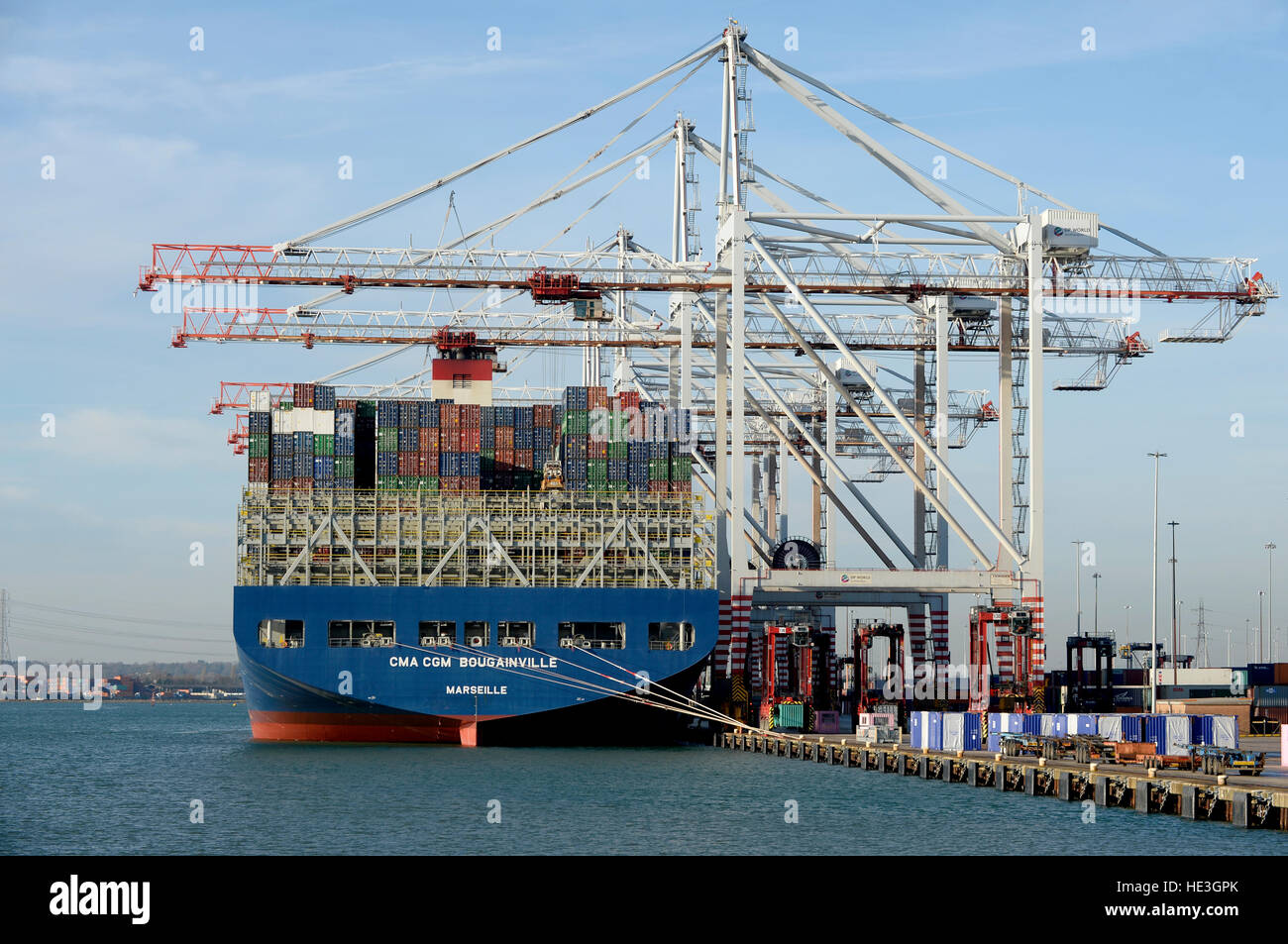 CMA CGM Bougainville container ship unloading containers at the Southampton Container Port, Southampton Docks, Hampshire, - Stock Image