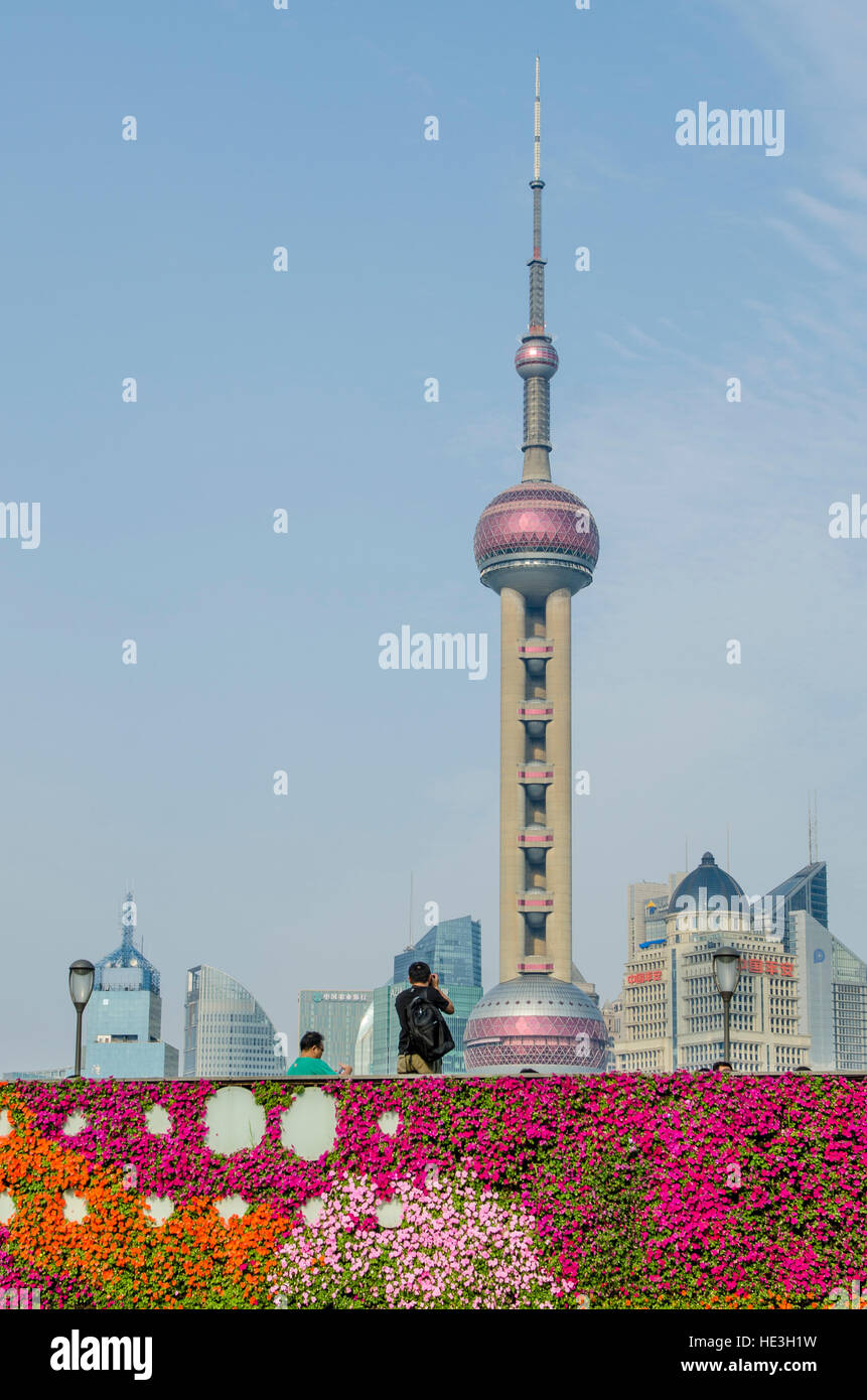 Flower Wall On The Bund With Pudong District Cityscape