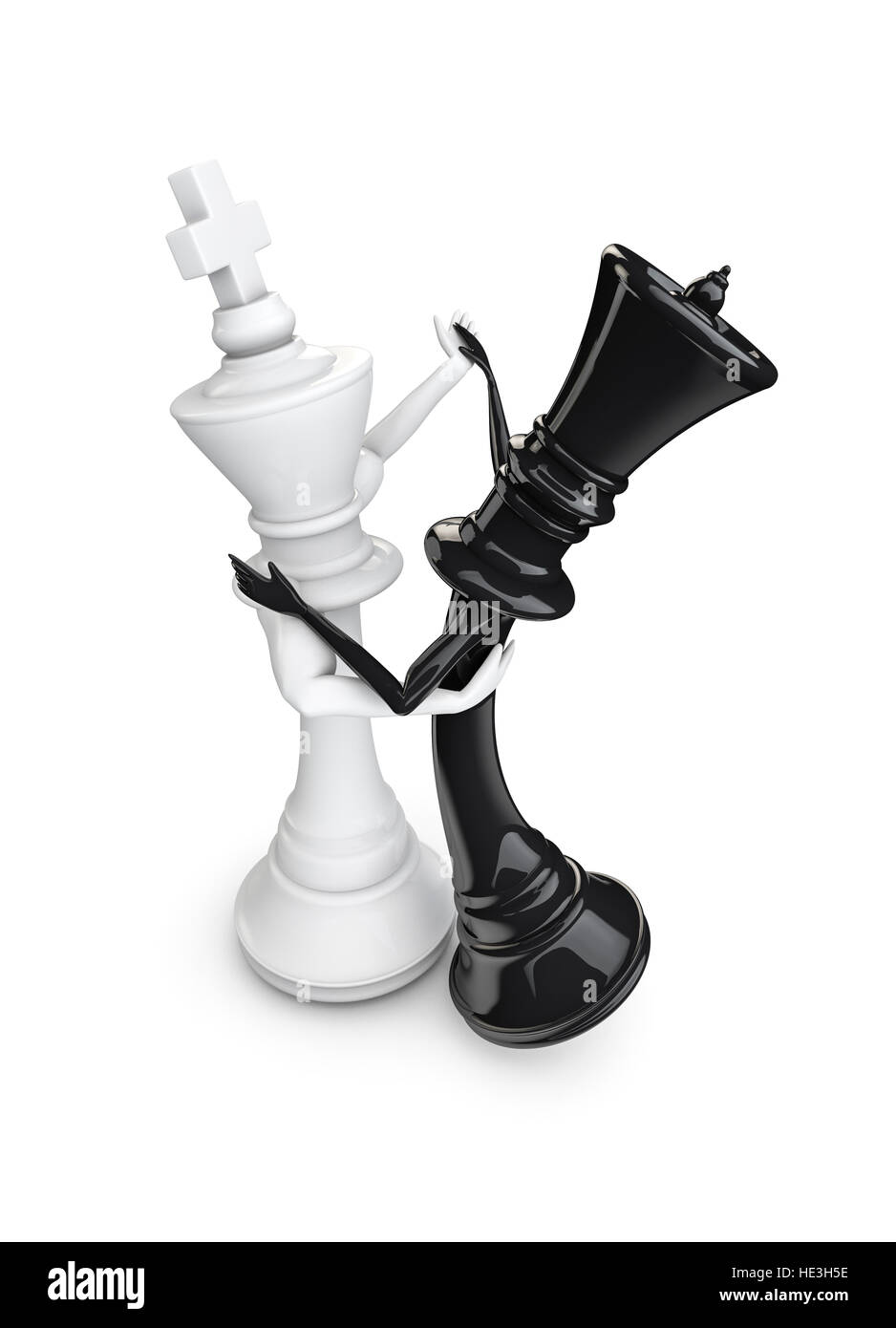Chess piece dancers 3d illustration of white chess king and black queen dancing