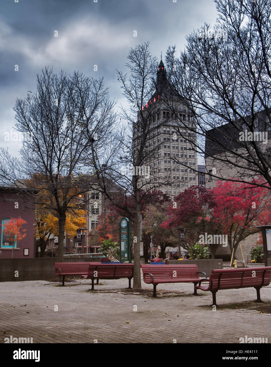 Rochester New York Park With The Kodak Corporation Headquarters In