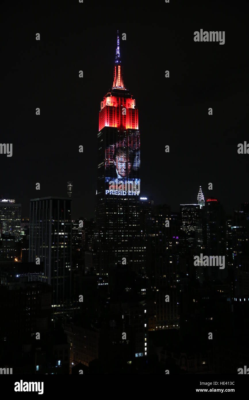 Donald Trump is elected 45th President Of The United States Of America as displayed on the Empire State Building - Stock Image