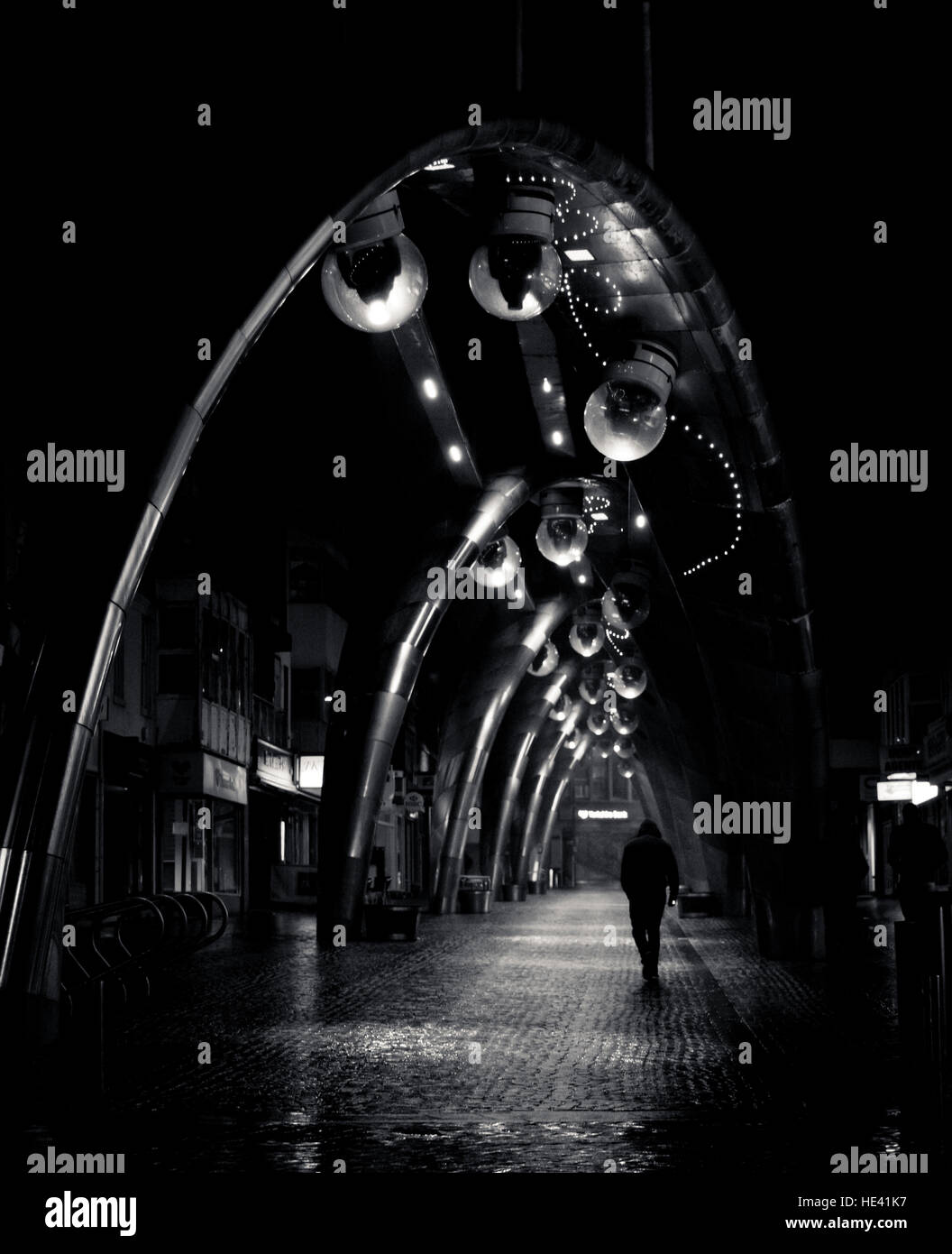night, street, lights, person, single, solo, shadows, installation, fancy, path, figure, artsy, artistic, b&w, mono, Stock Photo