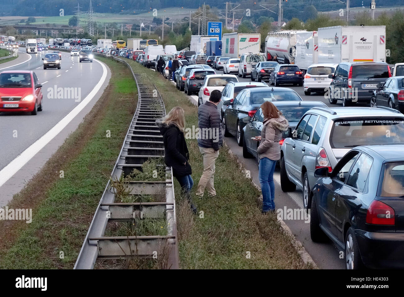 Traffic congestion on motorway, Greding, Germany. - Stock Image