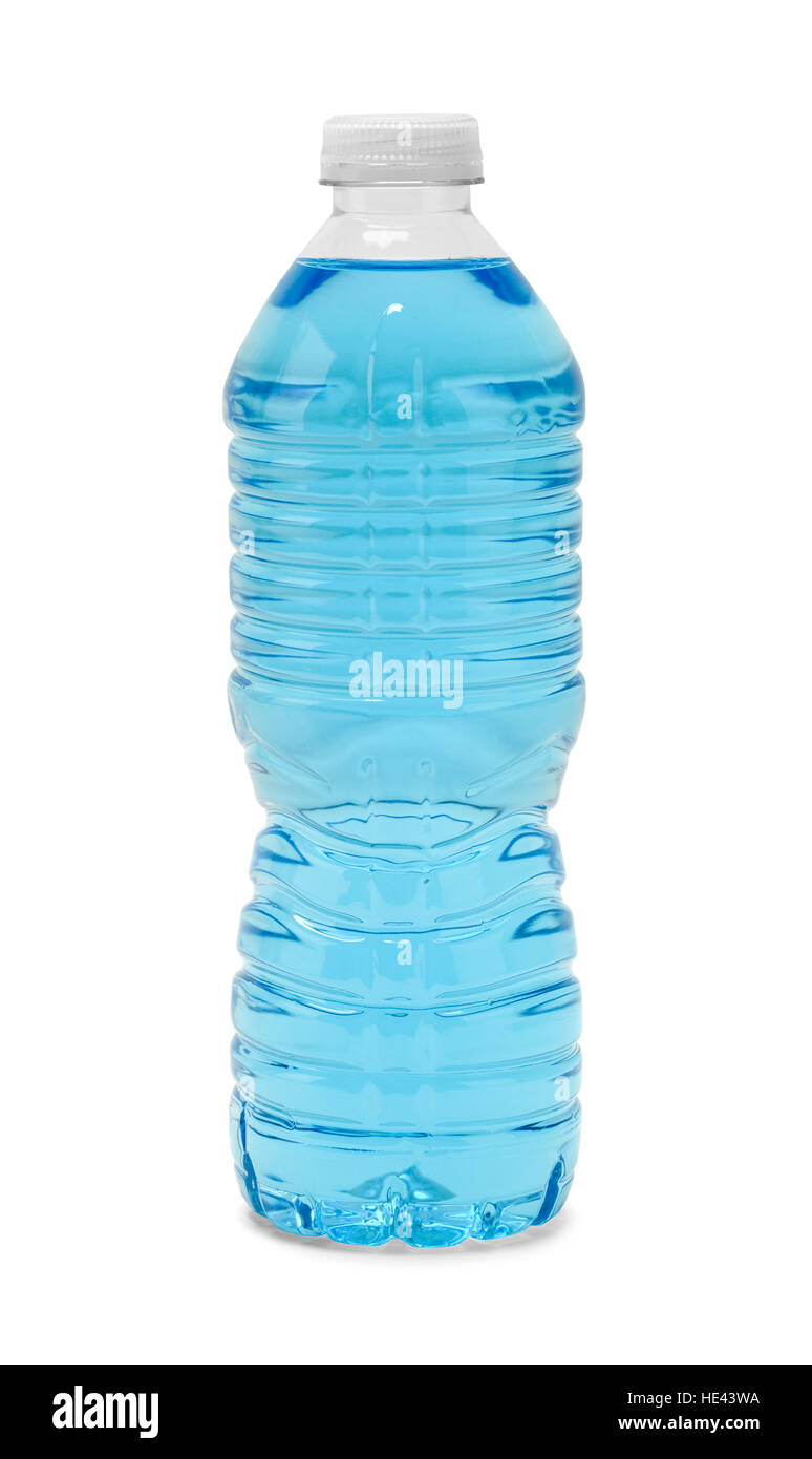 Full Closed Bottle of Blue Water Isolated on White Background. - Stock Image