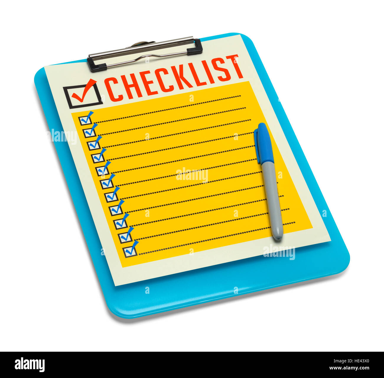 Blue Clipboard with Retro Checklist Isolated on White Background. - Stock Image