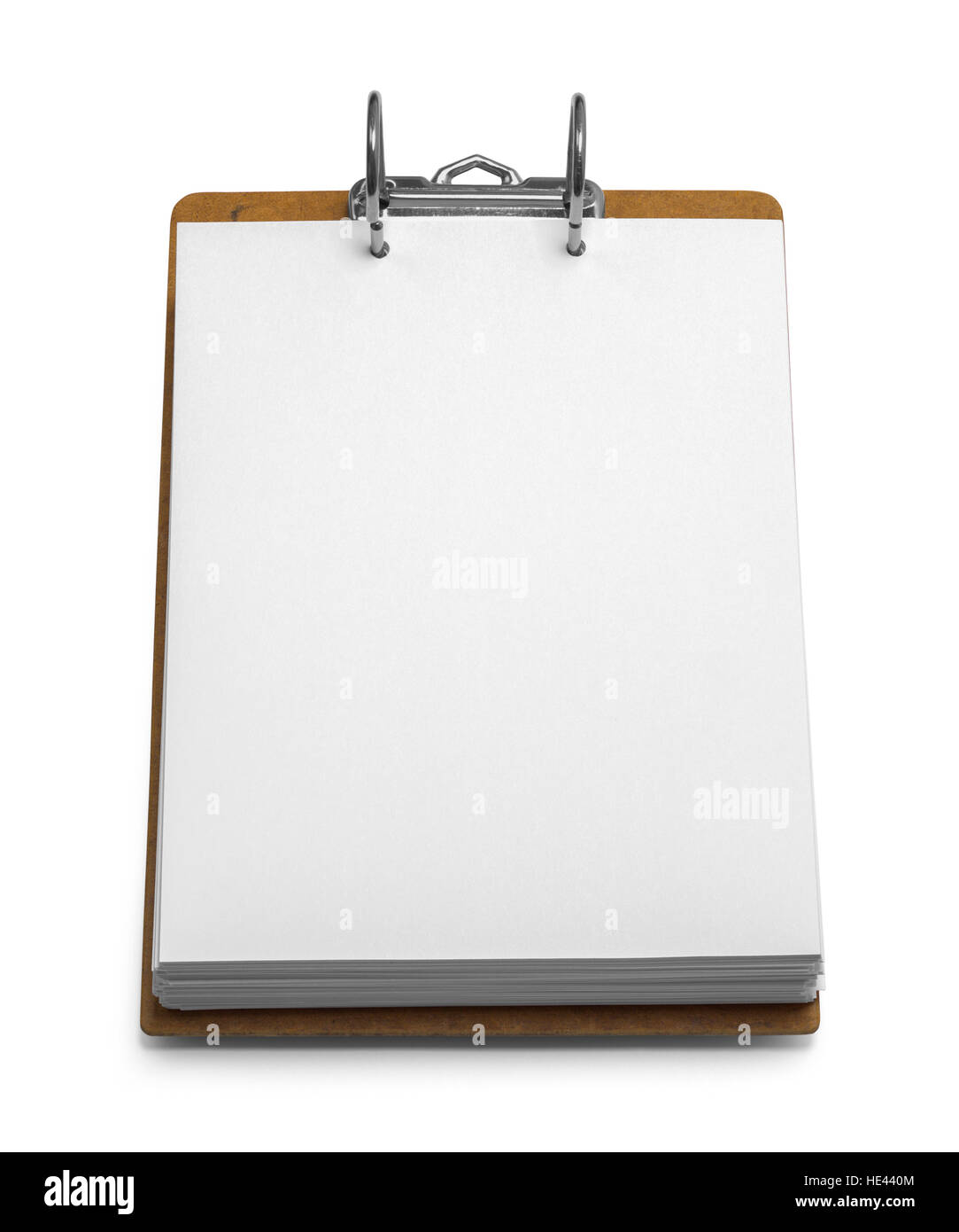 Binder Clipboard with Paper Isolated on White Background. - Stock Image
