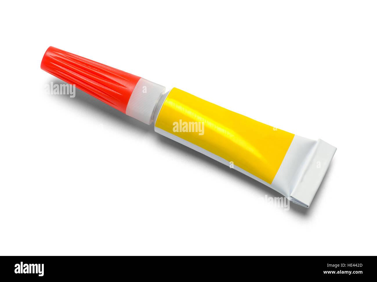 Tube of Strong Glue Isolated on White Background. - Stock Image