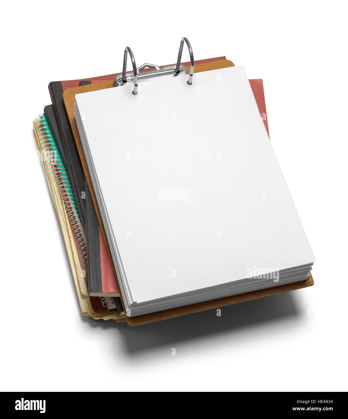 Pile of File Folders and Clipboard Isolated on White Background. - Stock Image