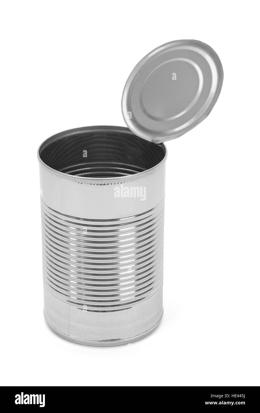 Open Tin Can Isolated on White Background. - Stock Image