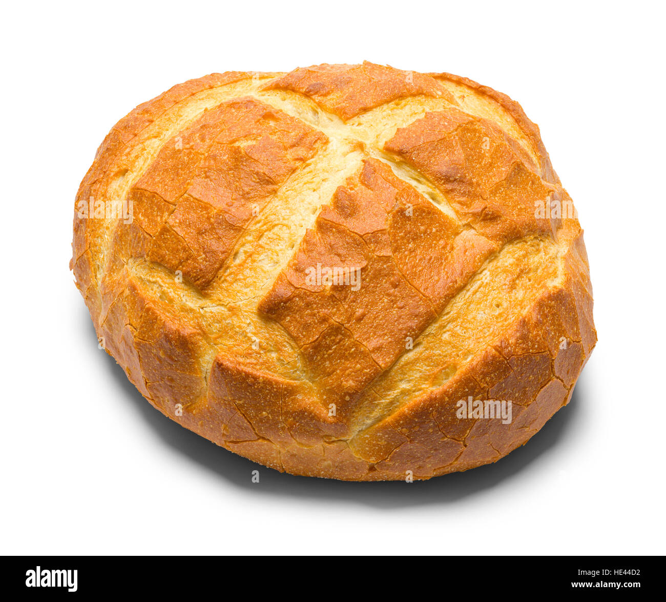 Round Artisan Bread Loaf Isolated On White Background
