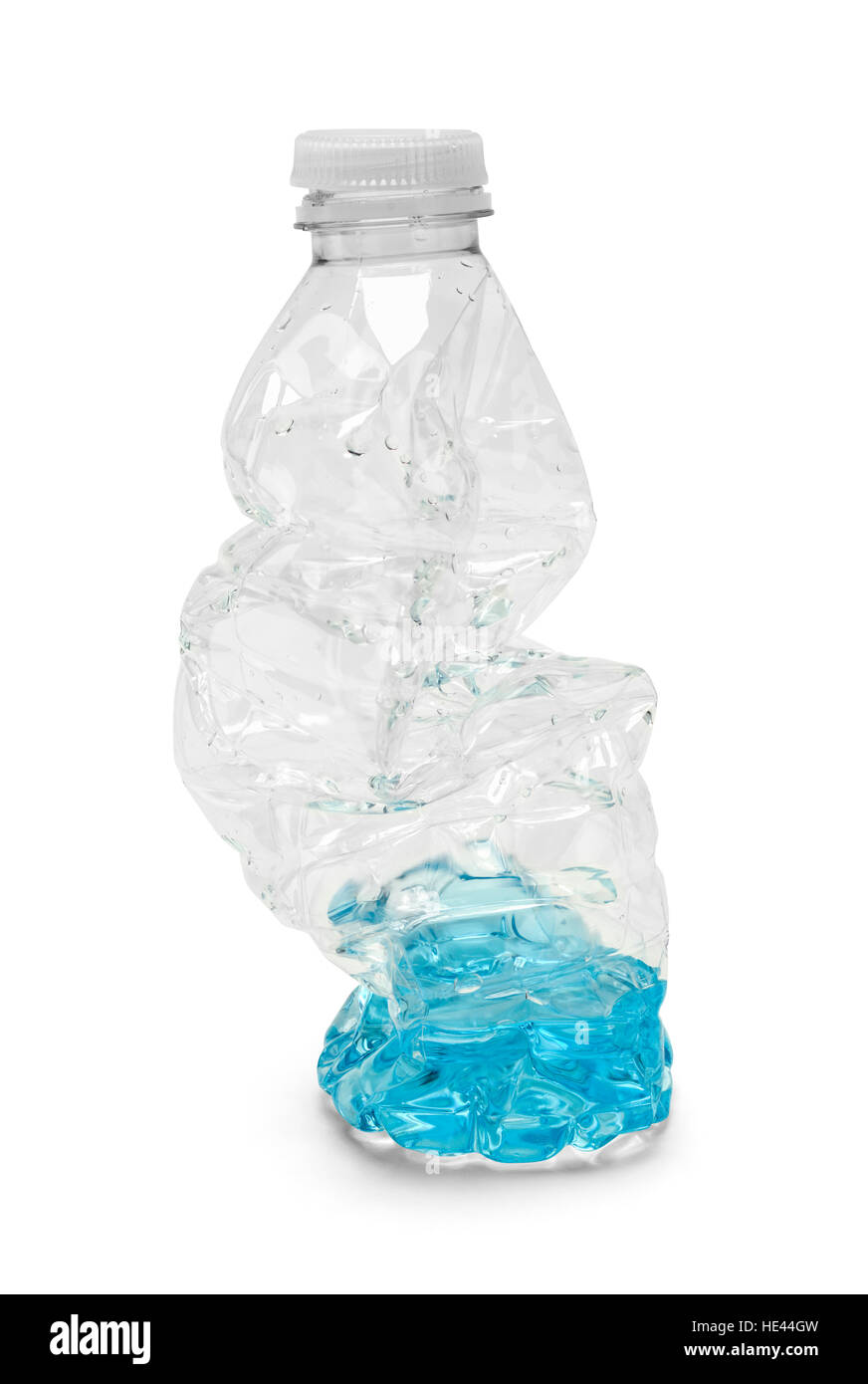 Half Empty Crushed Water Bottle Isolated on White Background. - Stock Image