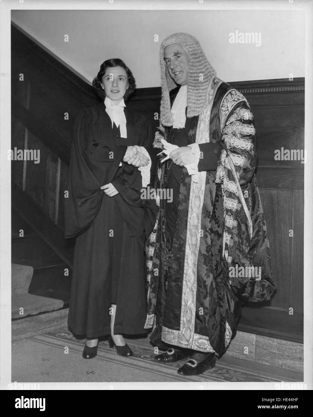 Photograph of Anne Levine and the Rt. Hon. Sir Raymond Evershed - Stock Image