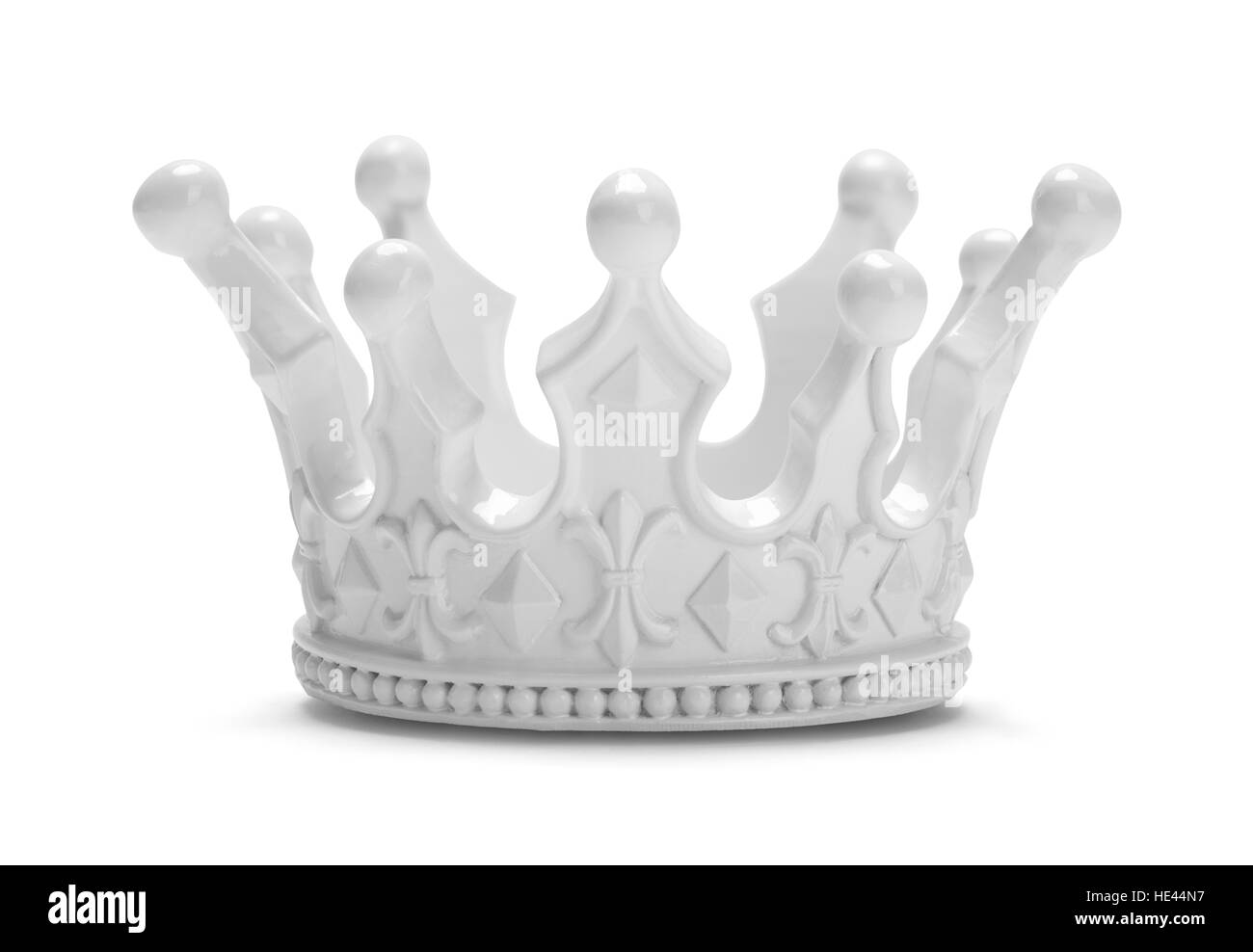 White Royal King or Queen Crown Isolated on White Background. - Stock Image