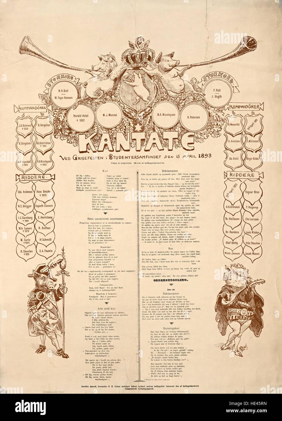 Kantate ved Grisefesten i Studentersamfundet den 15 April 1893 - Stock Image