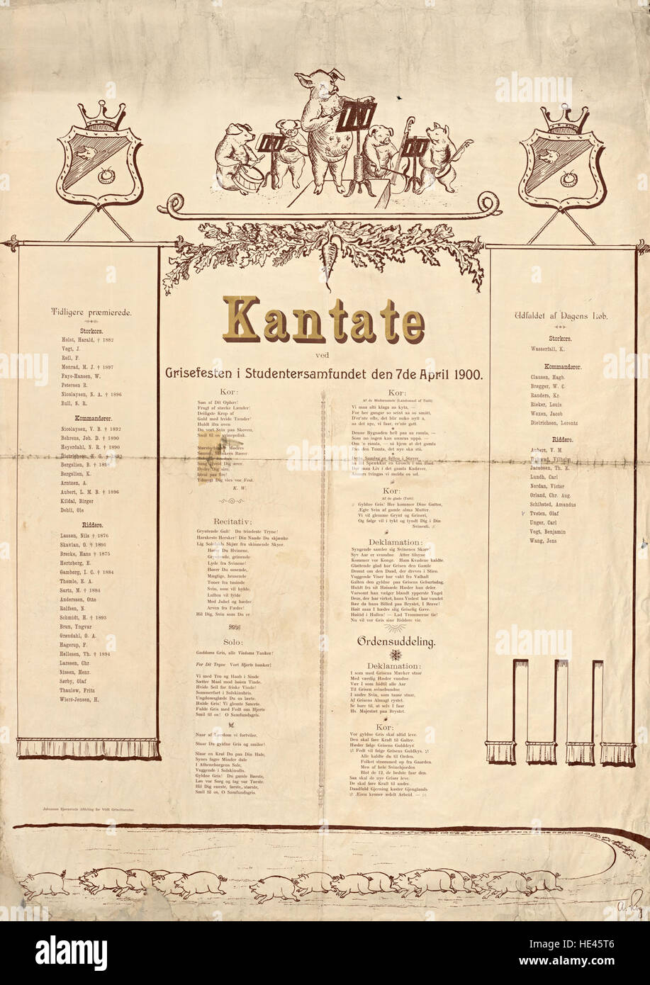 Kantate ved Grisefesten i Studentersamfundet den 7de April 1900 - Stock Image
