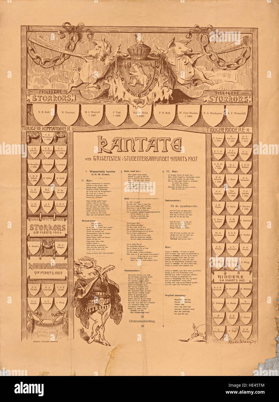 Kantate ved Grisefesten i Studentersamfundet 9 Marts 1907 - Stock Image
