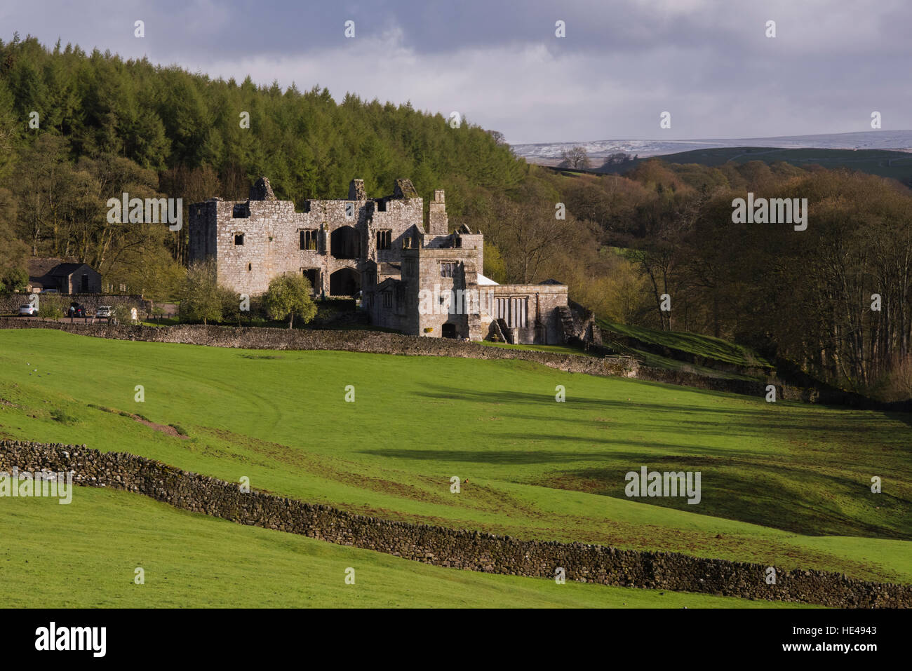 Barden Tower (sunlight on beautiful historic ancient ruin, hillside forestry trees, rolling hills) - Bolton Abbey Estate, Yorkshire Dales, England UK. Stock Photo