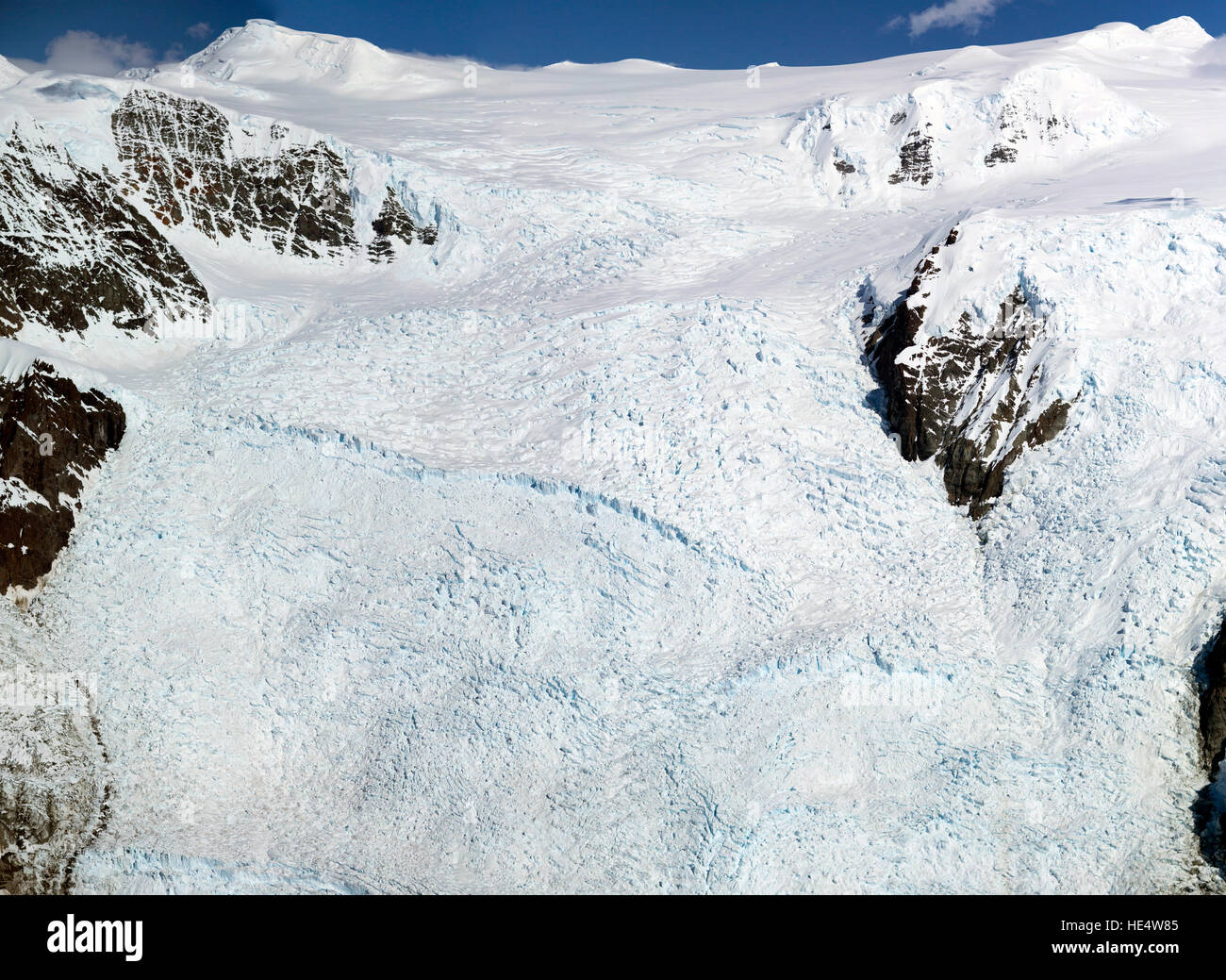An aerial view of the worlds largest icefall. The Stairway Icefall in the Wrangell–St. Elias National Park and Preserve - Stock Image