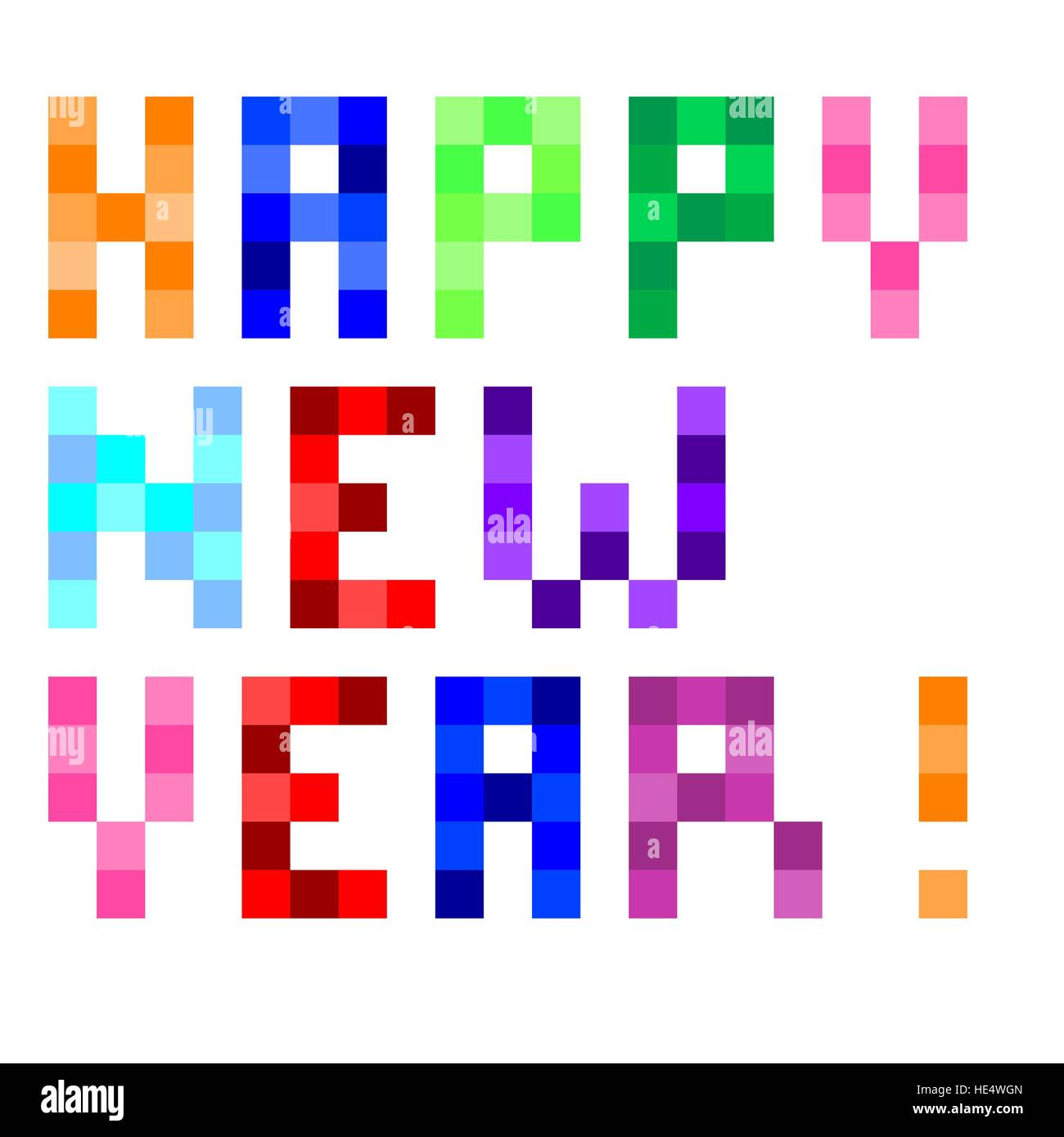 Vector Pixel Art Happy New Year Stock Vector Art