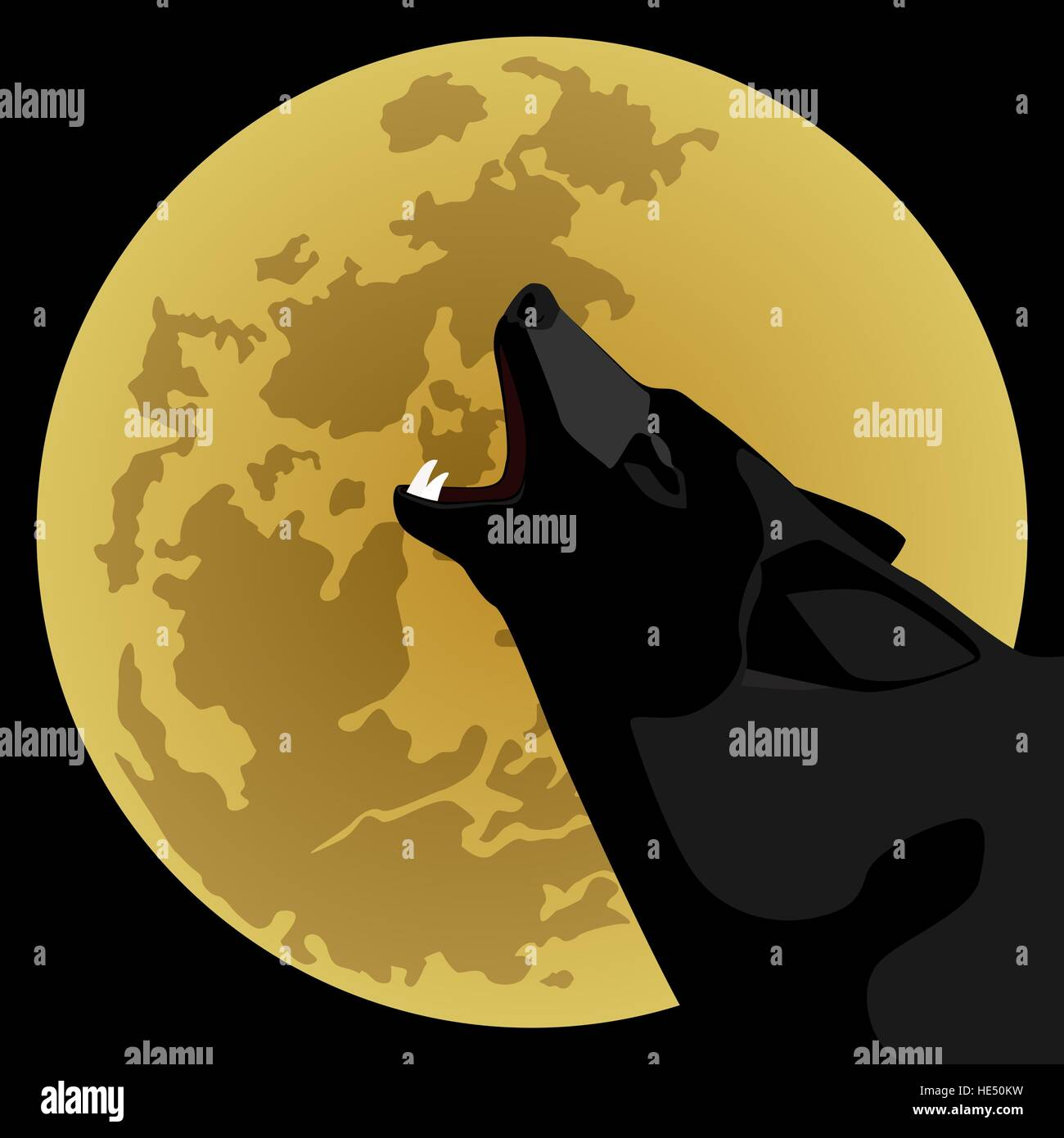 The wolf howls at night on the moon. The illustration on a black background. - Stock Image
