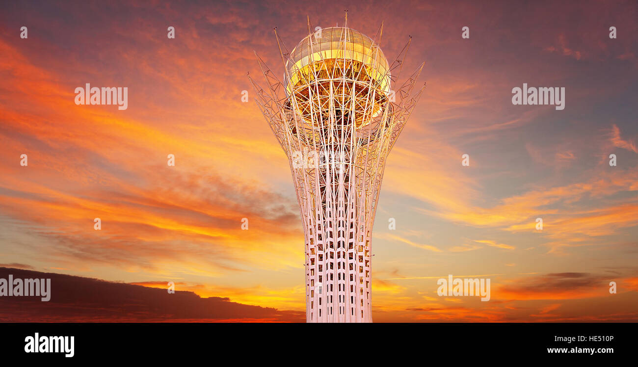 ASTANA, KAZAKHSTAN - JULY 05, 2016: Bayterek tower is the main symbol of Kazakhstan in Astana city, Kazakhstan on - Stock Image