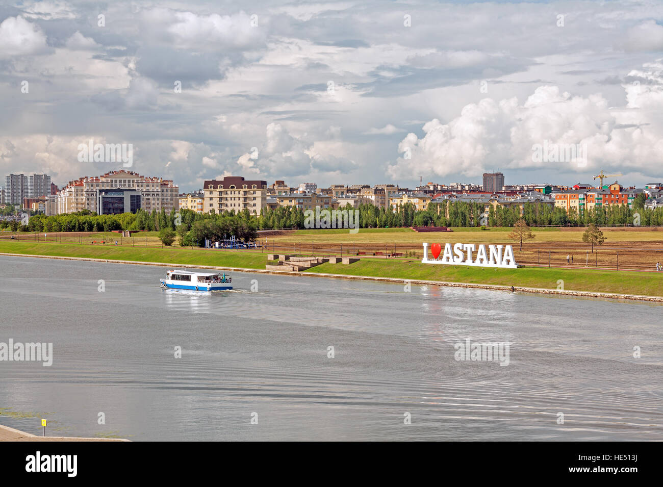 Ishim river, downtown of Astana city, Kazakhstan. - Stock Image