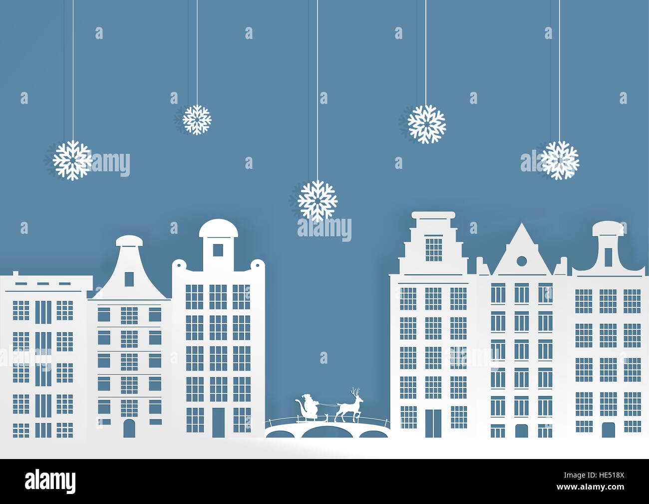 Christmas illustration. City in the snow and Santa Claus on a sledge. - Stock Image