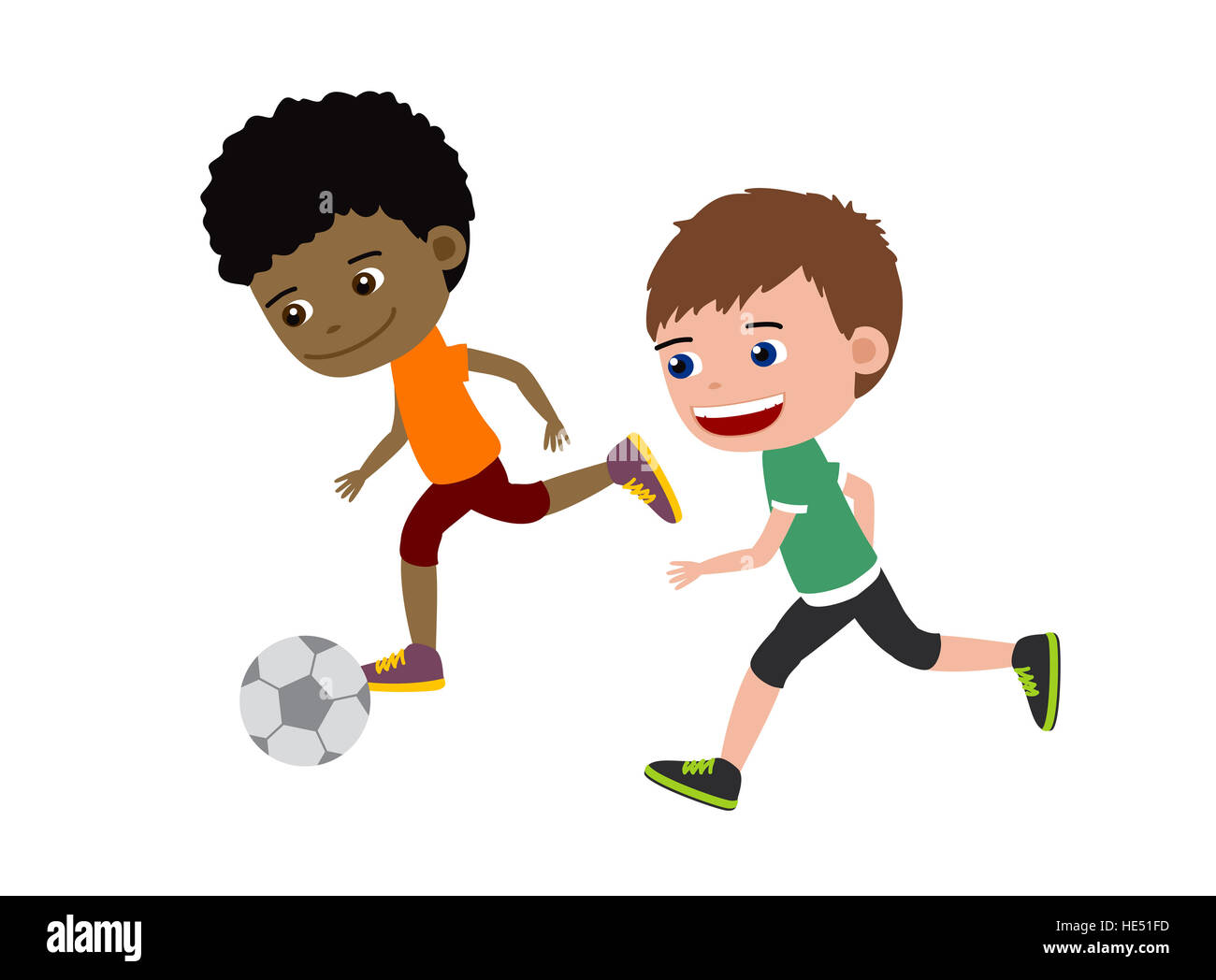 Football Boys Cartoon Illustration Of Two Kids Playing Football