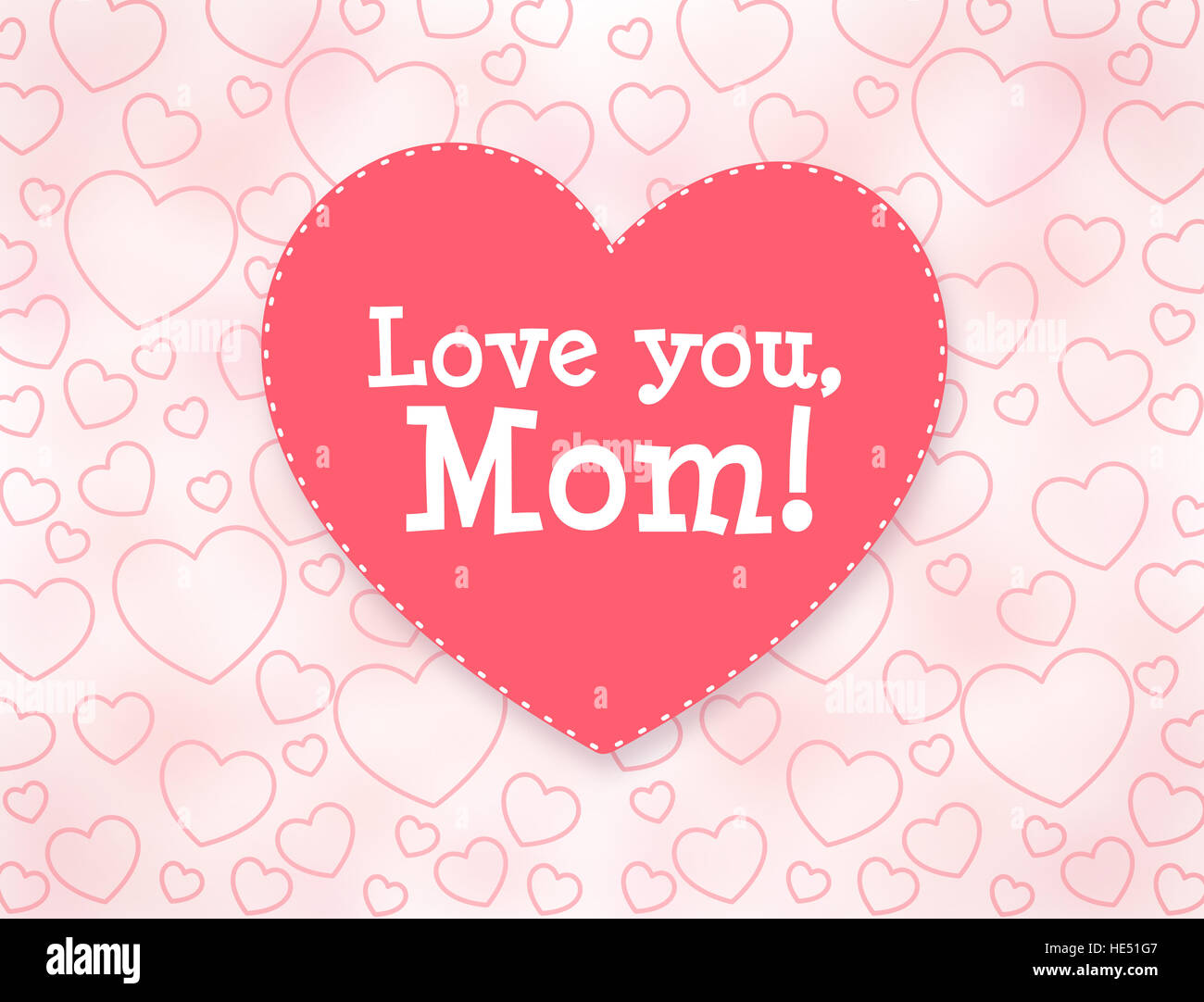 Love You Mom Mothers Day Greeting Card With Hearts Stock Photo