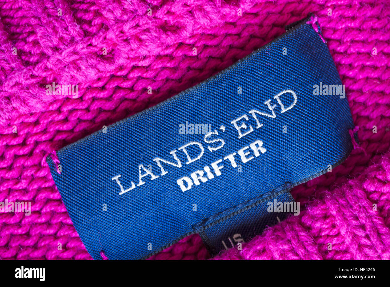Lands' End Drifter label in pink knitted pattern jumper - Stock Image