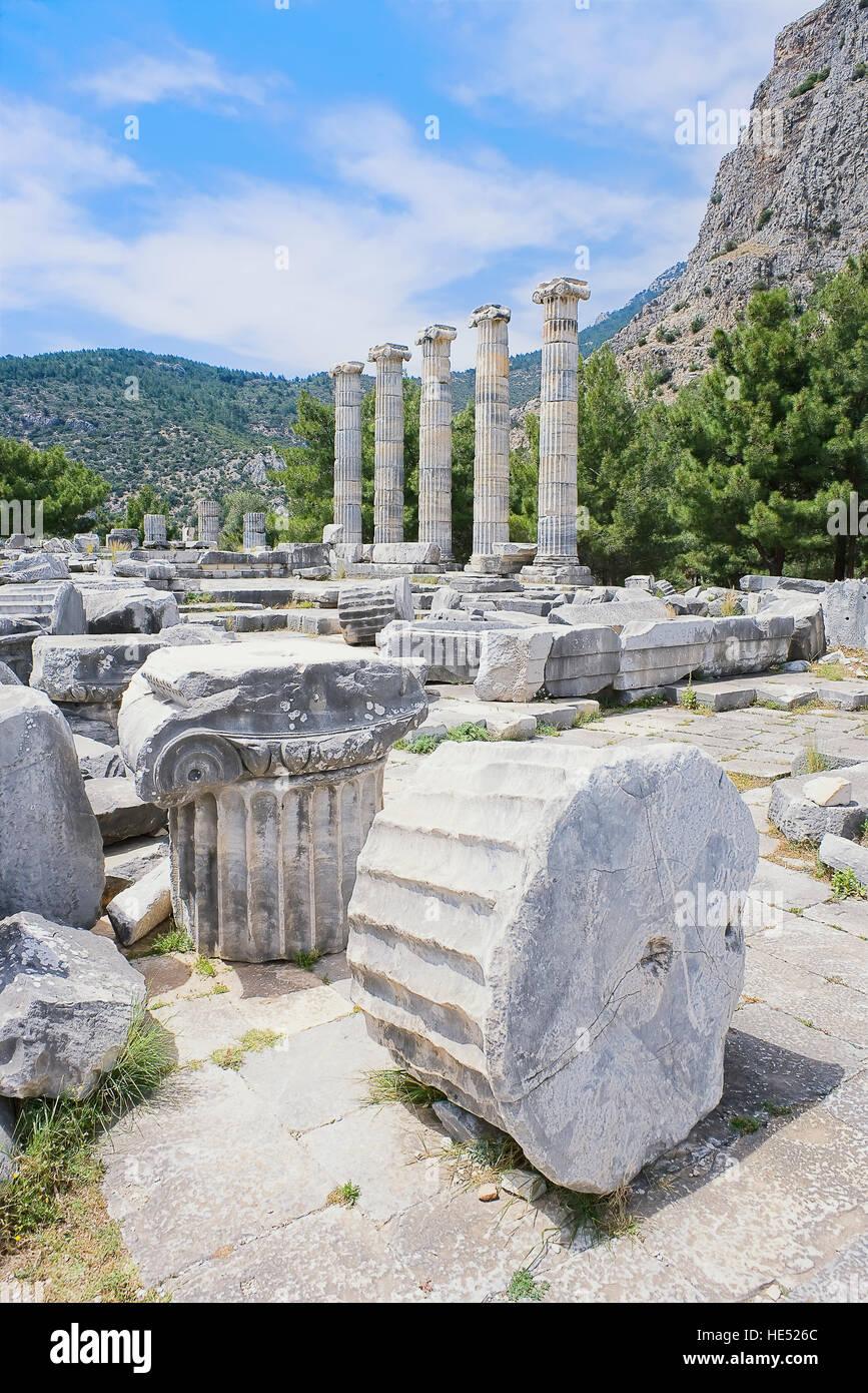 Athena Temple, Priene, Turkey, Asia Minor, Asia Stock Photo