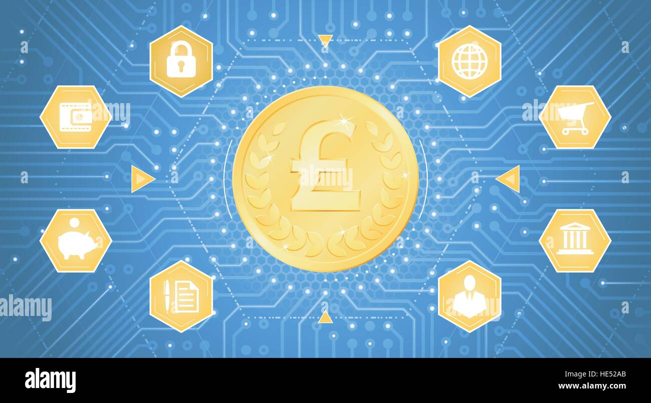 Digital Pound Sterling - Stock Vector