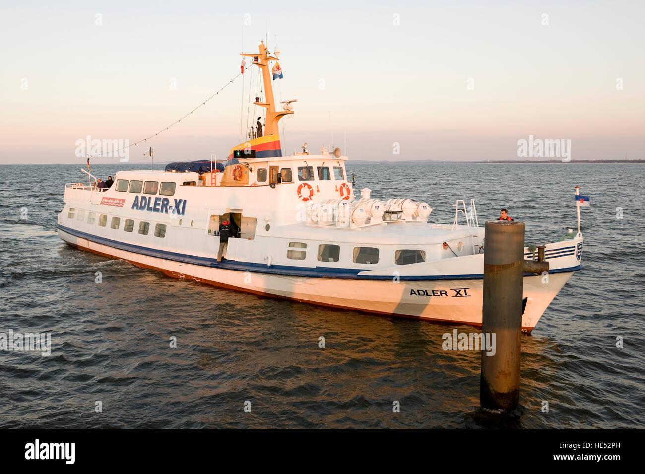 Passenger liner ADLER-XI, Ahlbeck seaside resort, Usedom Island, Mecklenburg-Western Pomerania - Stock Image