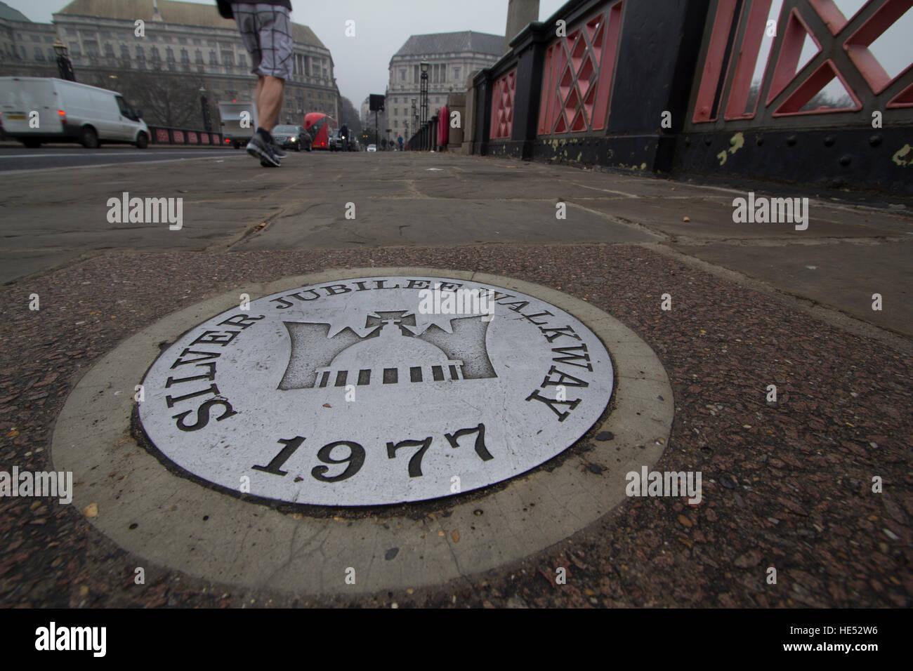 Silver Jubilee Walkway 1977 sign on Lambeth bridge, London, UK - Stock Image