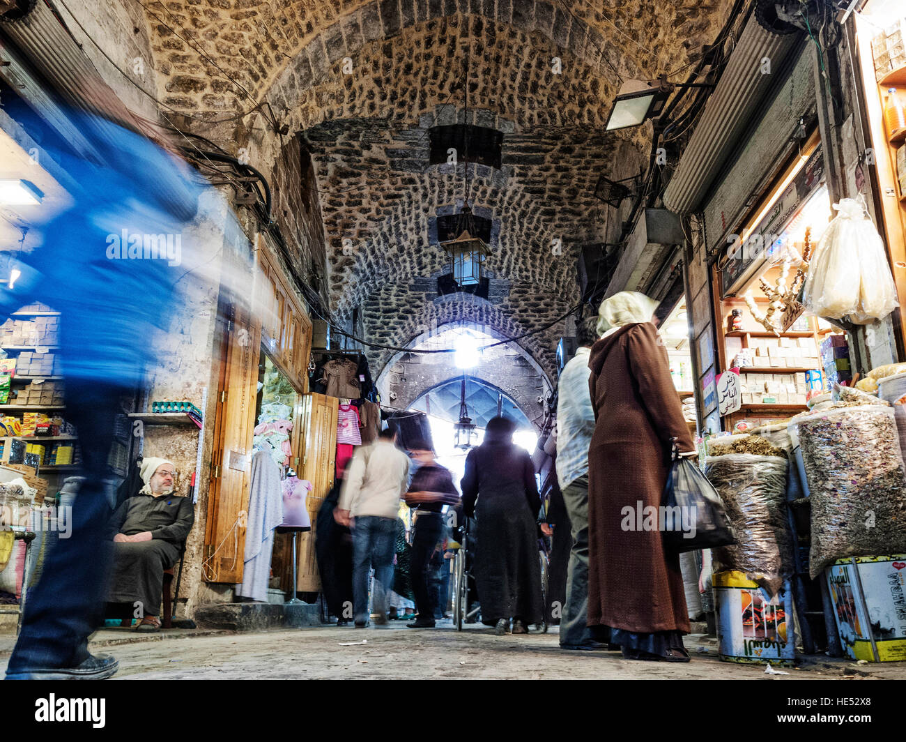 busy souk market shopping street in old town of aleppo syria - Stock Image