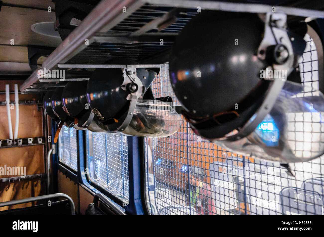 Helmets in the back of a Polish Militia armoured riot van in the European Solidarity Centre, Gdansk - Stock Image
