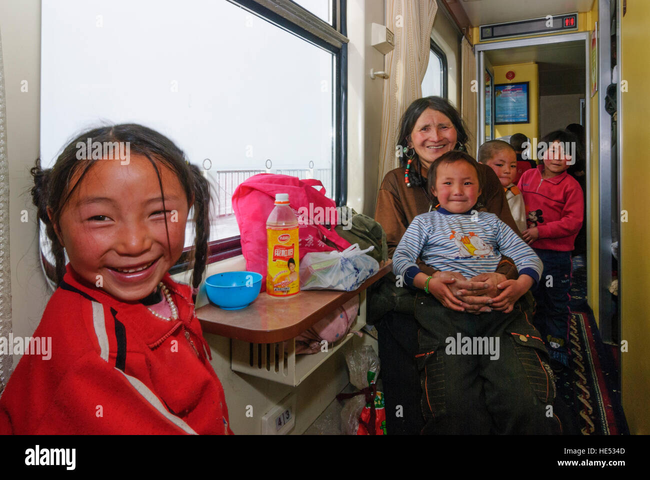 : Railway line to Tibet (Lhasa); Tibetan pilgrimage to the Tibetan New Year festival to Lhasa, Tibet, China - Stock Image