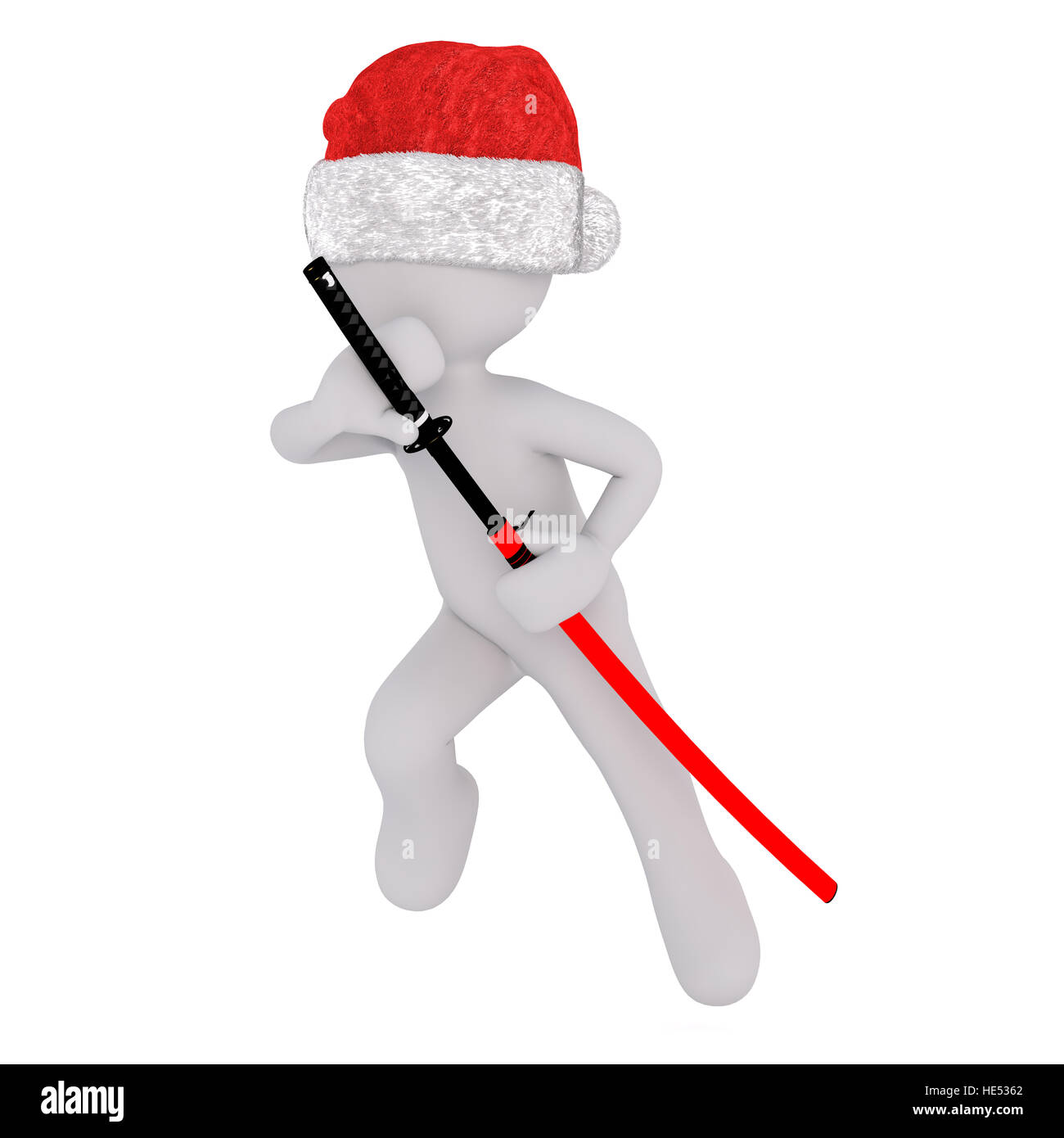 Christmas Hat Drawing.3d Toon In Santa Hat Drawing Japanese Samurai Sword From