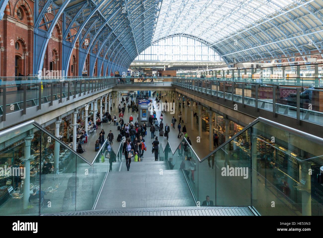 Interior of St Pancras International Train Station, London, UK - Stock Image