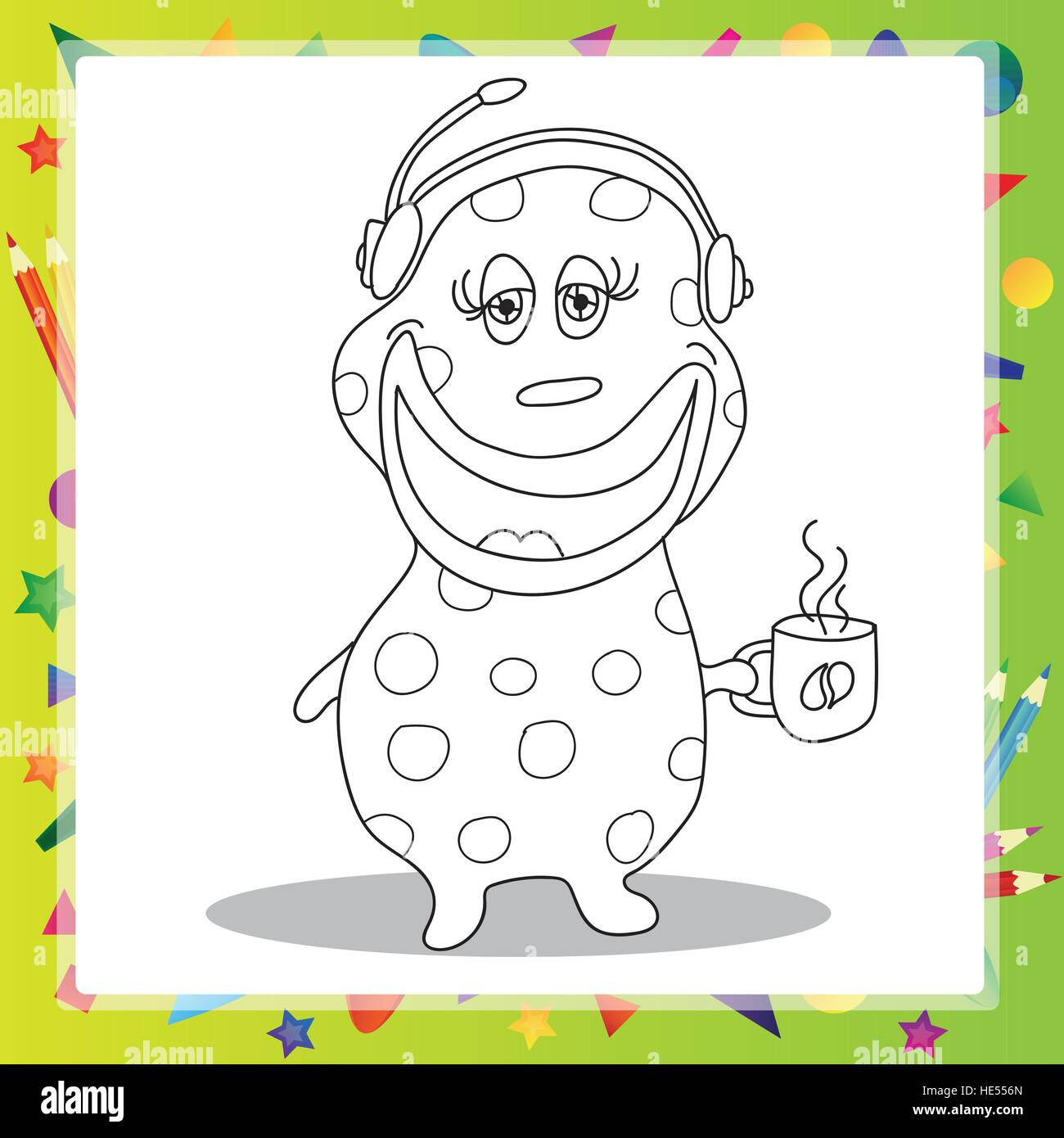 Fun Cartoon Character Phone Operator with a cup of hot coffee - coloring book - Stock Vector