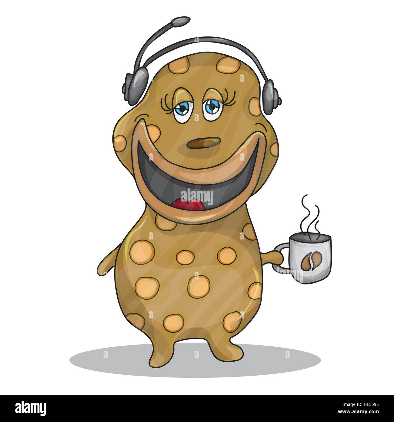Fun Cartoon Character Phone Operator with a cup of hot coffee - Stock Image