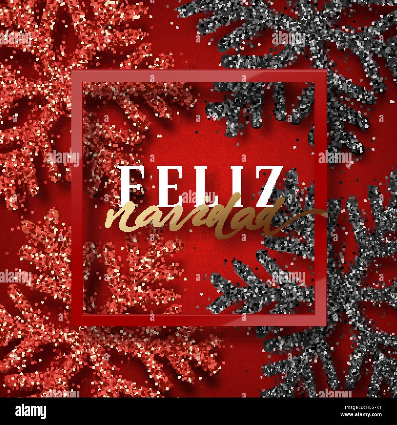 Merry Christmas In Spanish.Merry Christmas Spanish Inscription Feliz Navidad Stock