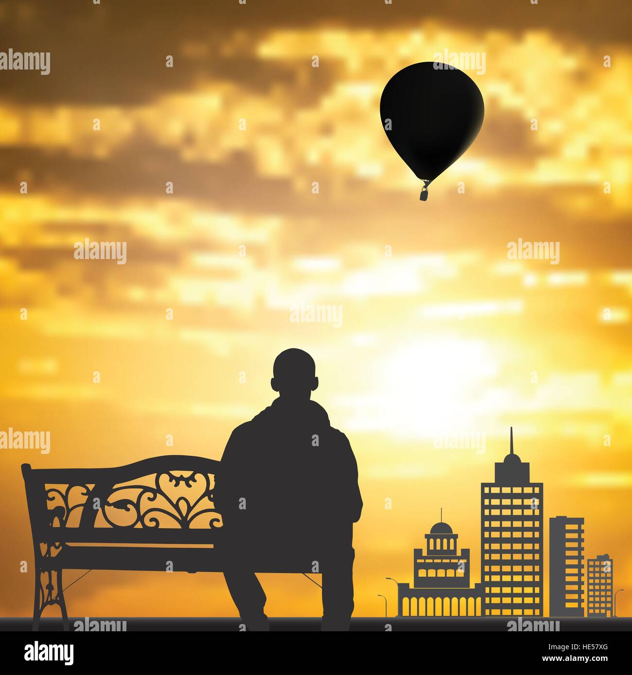 Men in the on a bench to enjoy the sunset.Silhouettes of skyscrapers of larger cities on the horizon at sunset. - Stock Vector