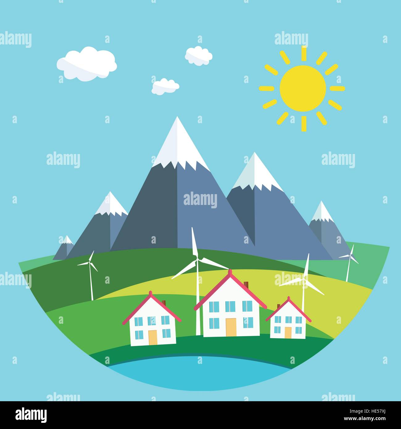 Environmental landscape cottages mountains in the background.wind energy. Environmental protection. Flat design Stock Vector