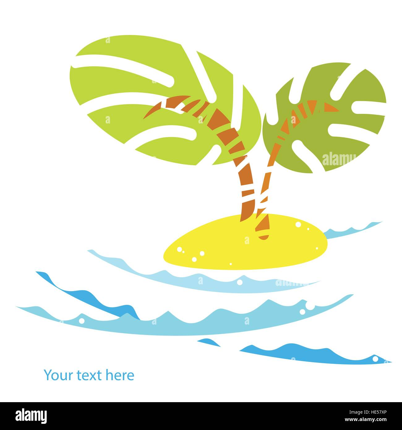 palm trees on the island in the ocean icon.Summer vector tropical landscape with ocean waves and beach - Stock Vector