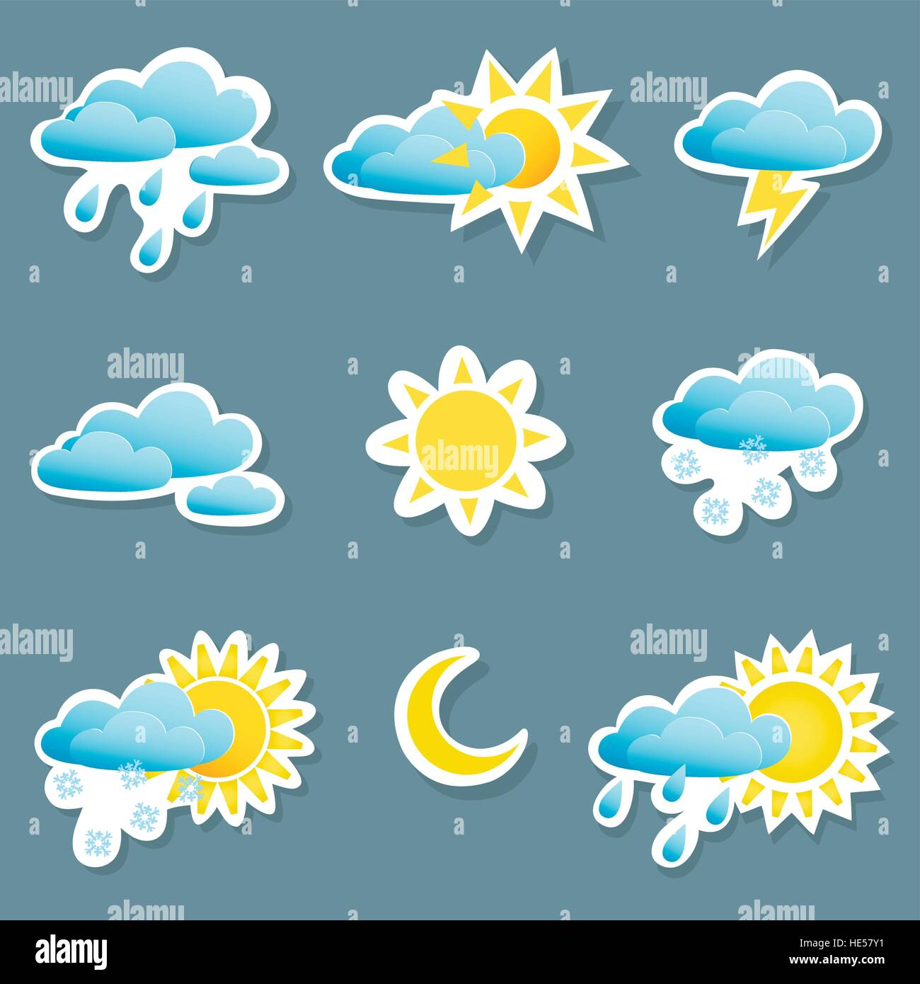 3c5fa0b7af set of icons depicting different weather conditions Stock Vector Art ...