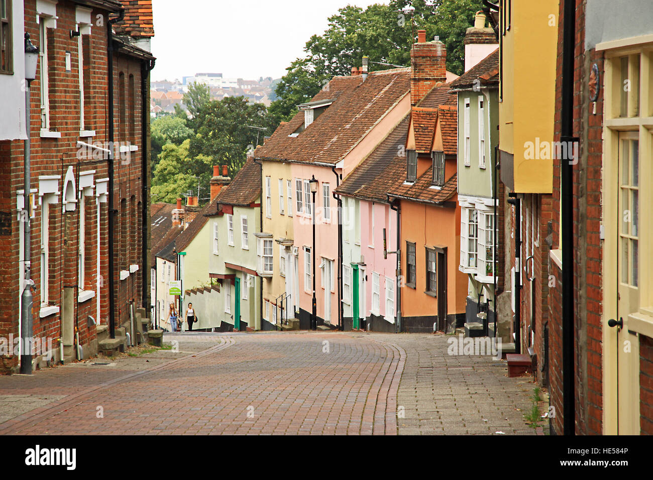 Old block paved  street in Colchester the county town of Essex England - Stock Image