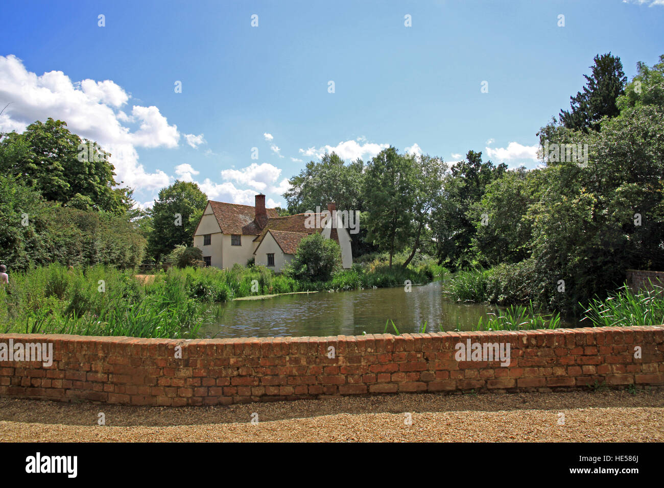 Willy Lott's cottage/house, the scene for John Constables Hay Wain on the river Stour East Bergholt  Suffolk England Stock Photo