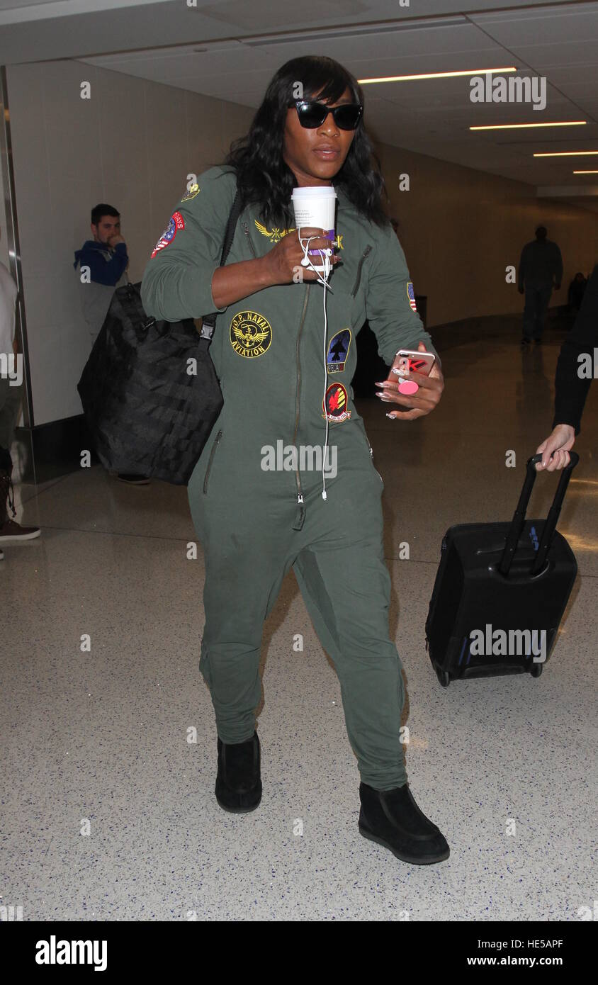 a7b6e9f111f0 Serena Williams arrives at the airport wearing a green jumpsuit Featuring   Serena Williams Where  Los Angeles