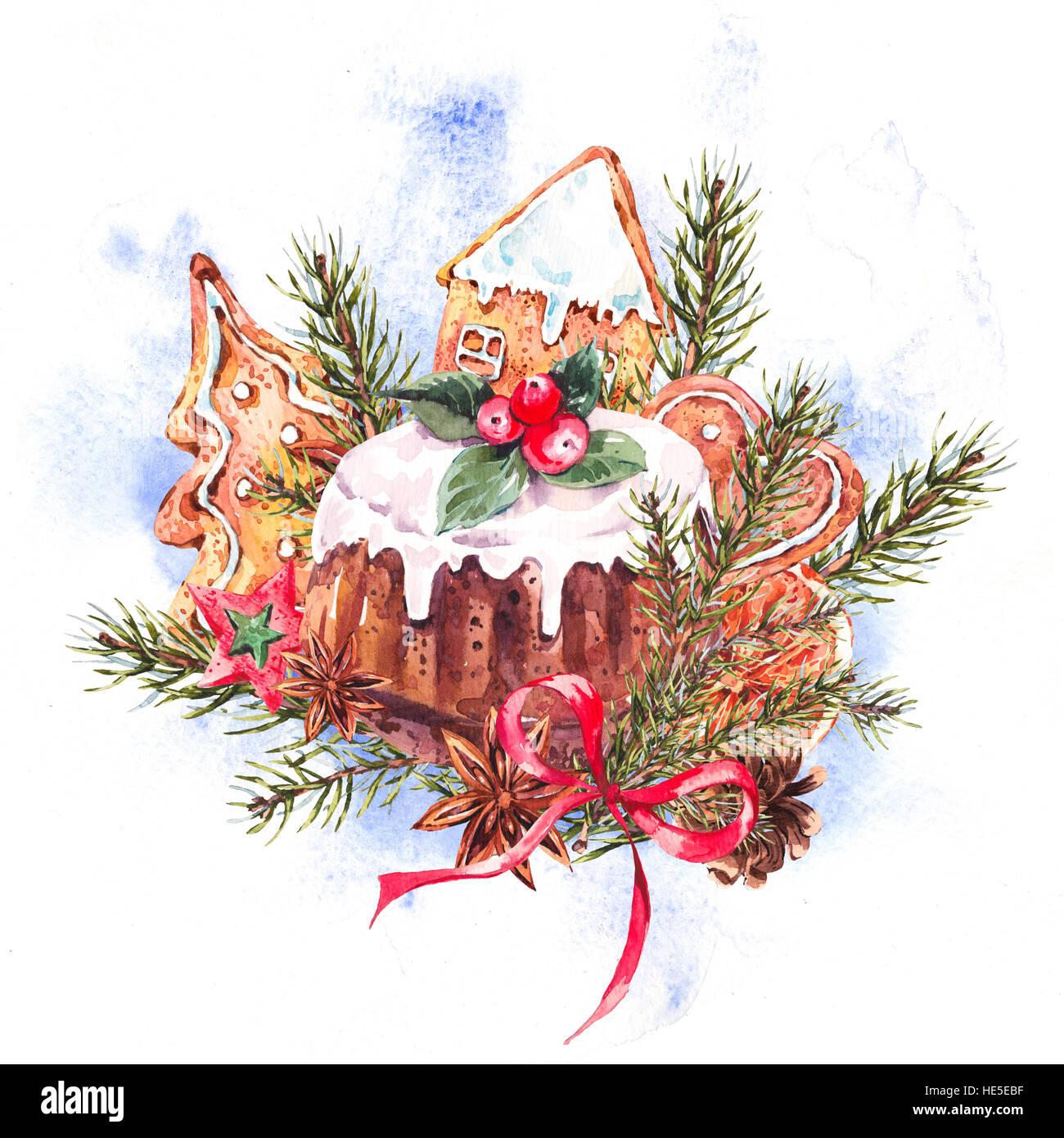 christmas pudding illustration stock photos christmas. Black Bedroom Furniture Sets. Home Design Ideas